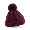 Burgundy - Front - Beechfield Unisex Heavyweight Cable Knit Snowstar Winter Beanie Hat