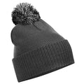 Graphite Grey-Light Grey - Front - Beechfield Girls Snowstar Duo Extreme Winter Hat