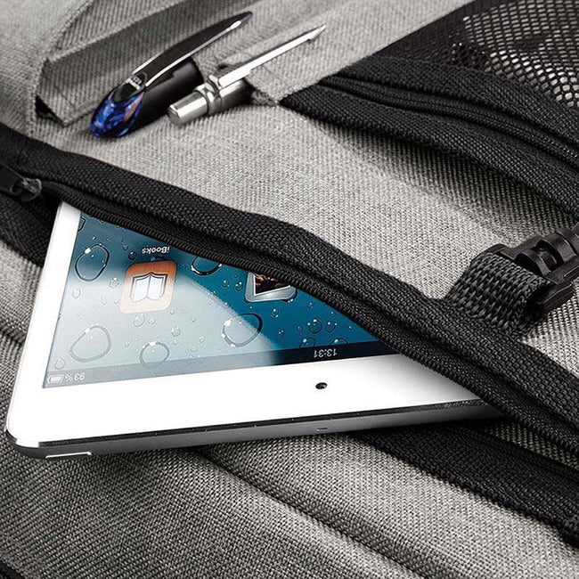 Grey Marl - Close up - BagBase Two-tone Digital Messenger Bag (Up To 15.6inch Laptop Compartment)