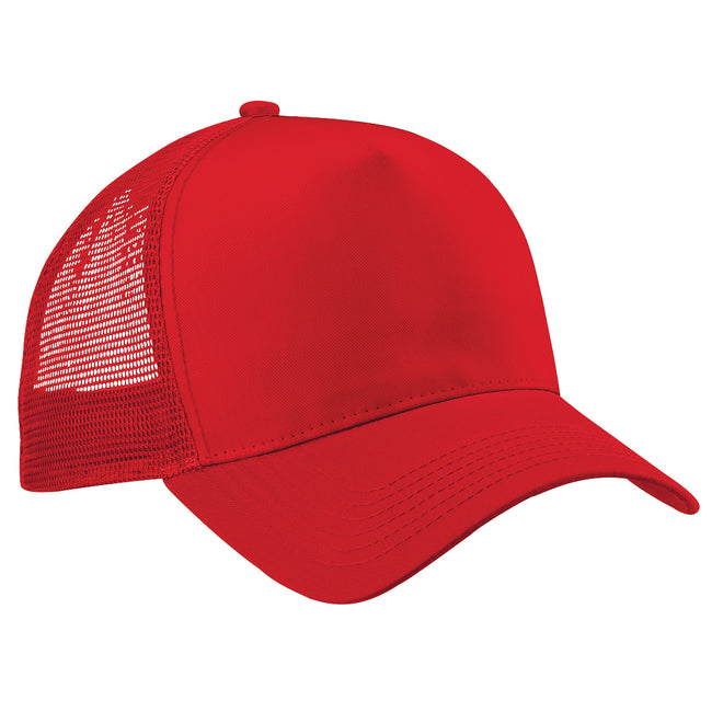 Classic Red-Classic Red - Front - Beechfield Mens Half Mesh Trucker Cap - Headwear