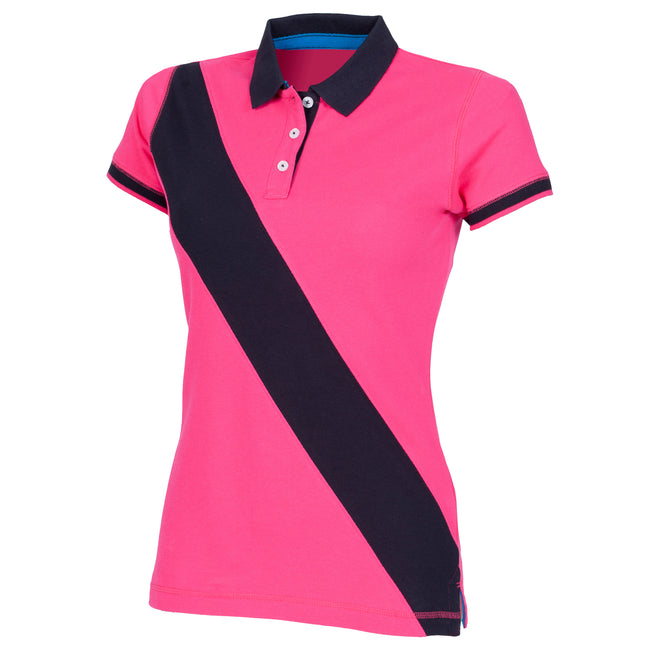 Bright Pink- Navy - Front - Front Row Womens-Ladies Diagonal Stripe House Slim Fit Polo Shirt