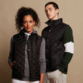 Black - Side - Front Row Mens Diamond Quilt Gilet - Bodywarmer
