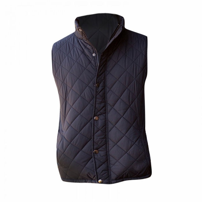 Black - Front - Front Row Mens Diamond Quilt Gilet - Bodywarmer