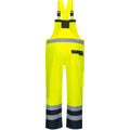 Yellow- Navy - Back - Portwest Unisex Contrast Hi Vis Bib And Brace Coveralls - Unlined (S488) - Workwear