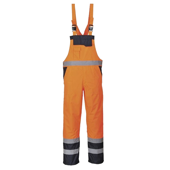 Orange- Navy - Front - Portwest Unisex Contrast Hi Vis Bib And Brace Coveralls - Unlined (S488) - Workwear