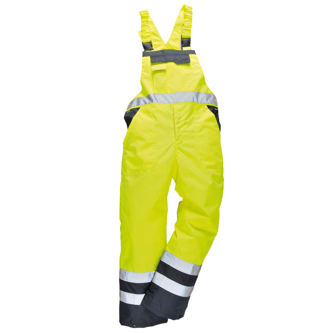 Yellow- Navy - Front - Portwest Unisex Contrast Hi Vis Bib And Brace Coveralls - Unlined (S488) - Workwear