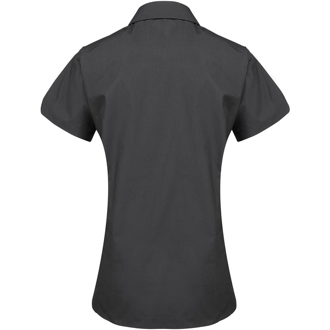 Black - Back - Premier Womens-Ladies Supreme Heavy Poplin Short Sleeve Work Shirt