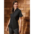 Black - Side - Premier Womens-Ladies Supreme Heavy Poplin Short Sleeve Work Shirt