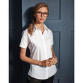 White - Side - Premier Womens-Ladies Supreme Heavy Poplin Short Sleeve Work Shirt