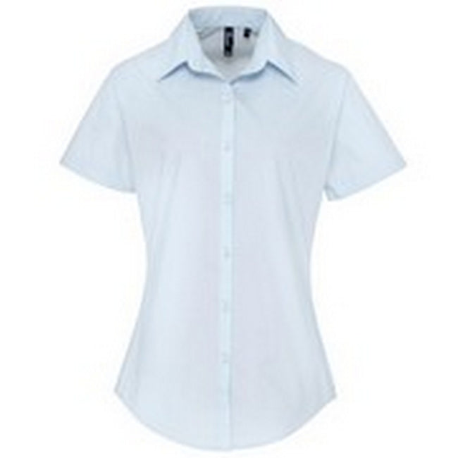 Light Blue - Front - Premier Womens-Ladies Supreme Heavy Poplin Short Sleeve Work Shirt