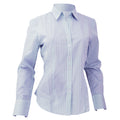 Blue - White Stripe - Front - Brook Taverner Ladies-Womens Perano Long Sleeve Blouse