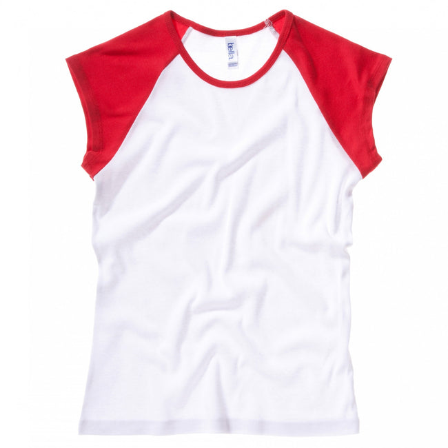 White - Red - Front - Bella + Canvas Womens-Ladies Baby Rib Cap Sleeve Contrast T-Shirt