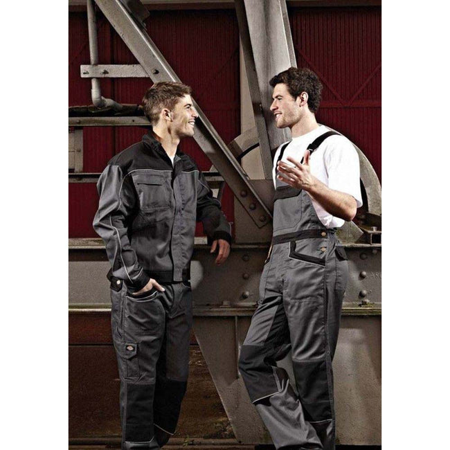 Grey - Black - Back - Dickies Unisex Industry 260 Bib & Brace Coveralls (Regular And Tall Leg) - Workwear
