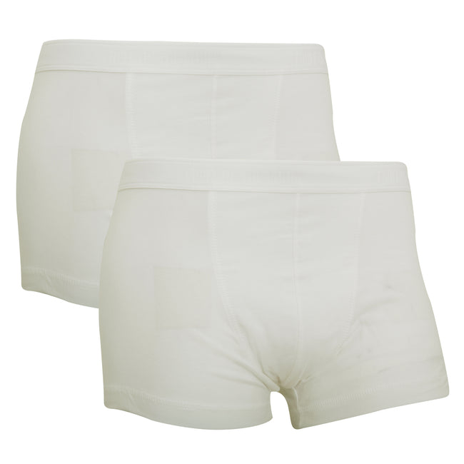 White - Front - Fruit Of The Loom Mens Classic Shorty Cotton Rich Boxer Shorts (Pack Of 2)