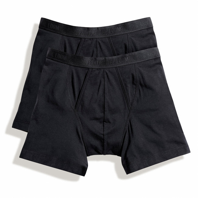 Black - Front - Fruit Of The Loom Mens Classic Boxer Shorts (Pack Of 2)