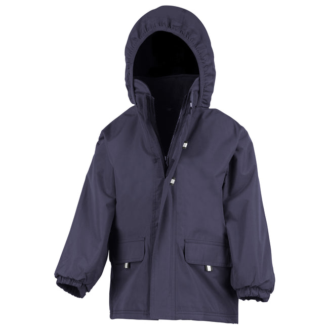 Navy - Front - Result Childrens Unisex Rugged Stuff Long Lined Hooded Coat
