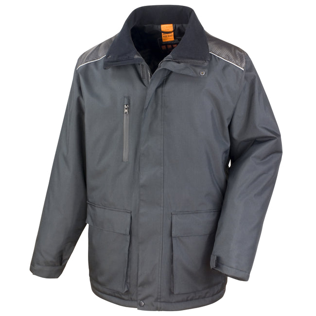 Black - Front - Result Mens Work-Guard Vostex Long Coat - Workwear (Waterproof & Windproof)