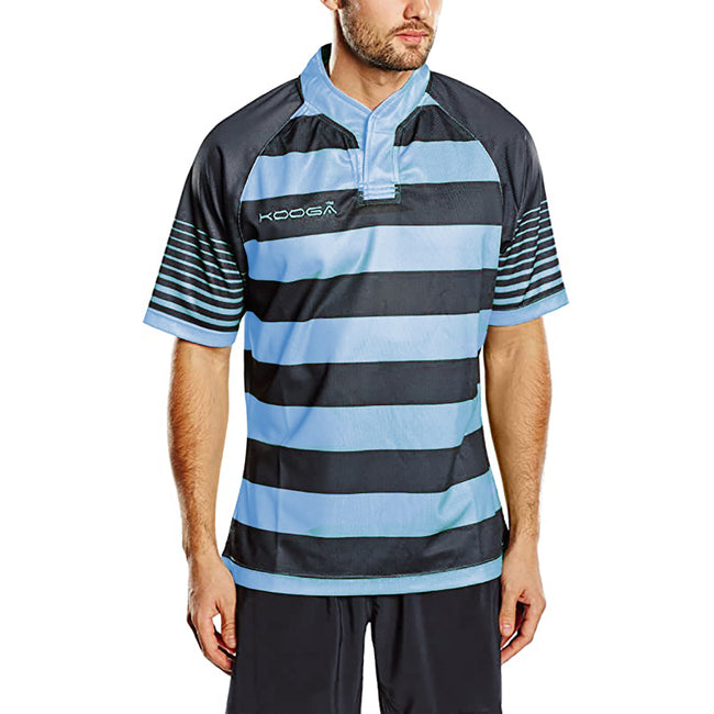 Black-Sky - Front - KooGa Boys Junior Touchline Hooped Match Rugby Shirt