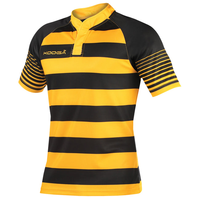 Black-Gold - Front - KooGa Boys Junior Touchline Hooped Match Rugby Shirt
