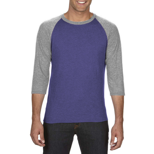 Heather Grey-Heather Galapagos Blue - Front - Anvil Unisex Two Tone Tri-Blend 3-4 Sleeve Raglan T-Shirt