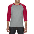 Heather Grey-Heather Red - Back - Anvil Unisex Two Tone Tri-Blend 3-4 Sleeve Raglan T-Shirt