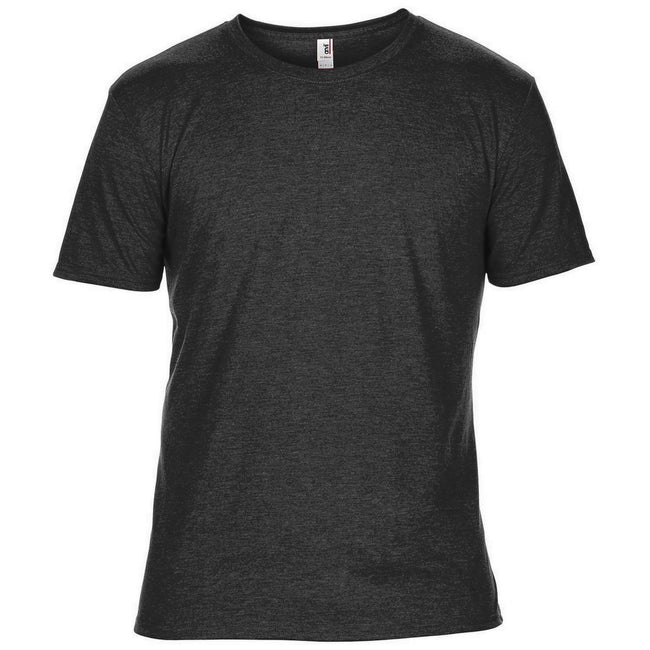 Black - Front - Anvil Mens Plain Short Sleeve Tri-Blend T-Shirt