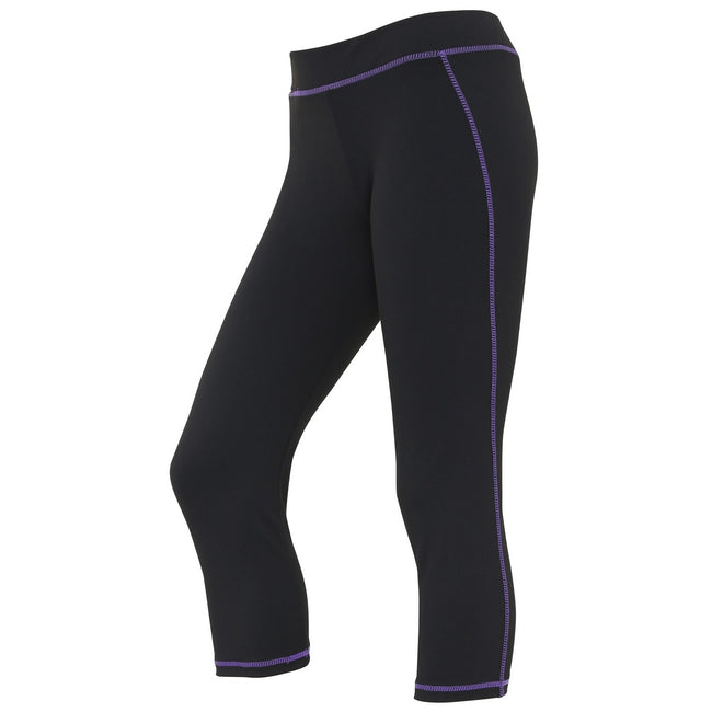 Jet Black-Purple - Front - AWDis Just Cool Womens-Ladies Girlie Capri Sports Trousers
