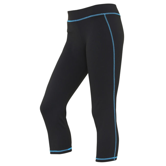 Jet Black-Sapphire Blue - Front - AWDis Just Cool Womens-Ladies Girlie Capri Sports Trousers
