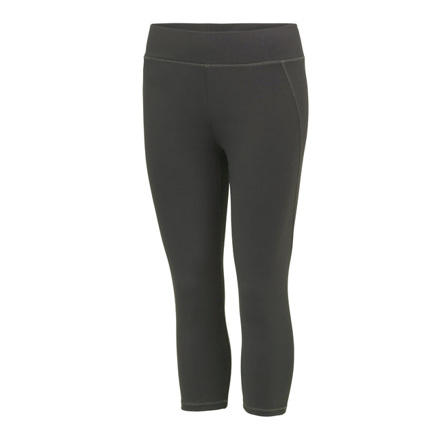 Charcoal - Front - AWDis Just Cool Womens-Ladies Girlie Capri Sports Trousers