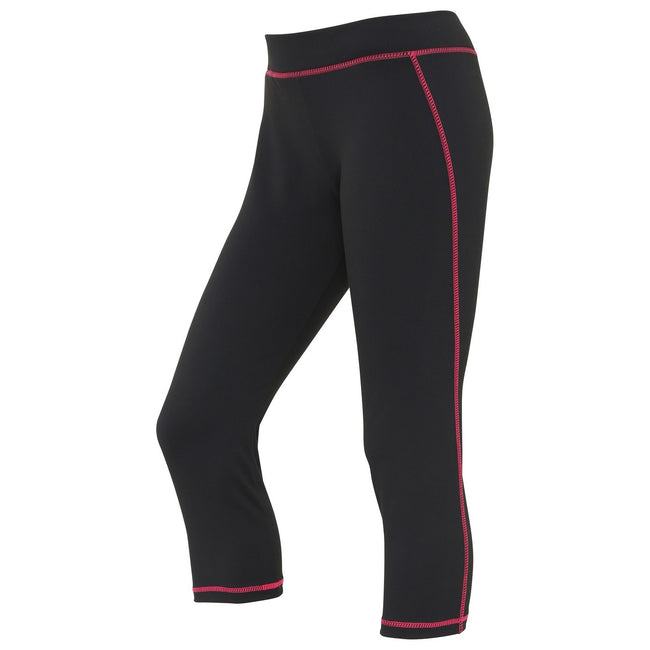 Jet Black-Hot Pink - Front - AWDis Just Cool Womens-Ladies Girlie Capri Sports Trousers