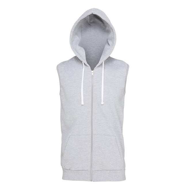 Heather Grey - Front - AWDis Just Hoods Mens Sleeveless Hoodie Jacket