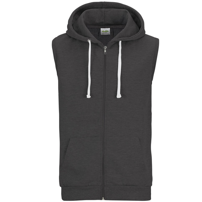 Charcoal - Front - AWDis Just Hoods Mens Sleeveless Hoodie Jacket