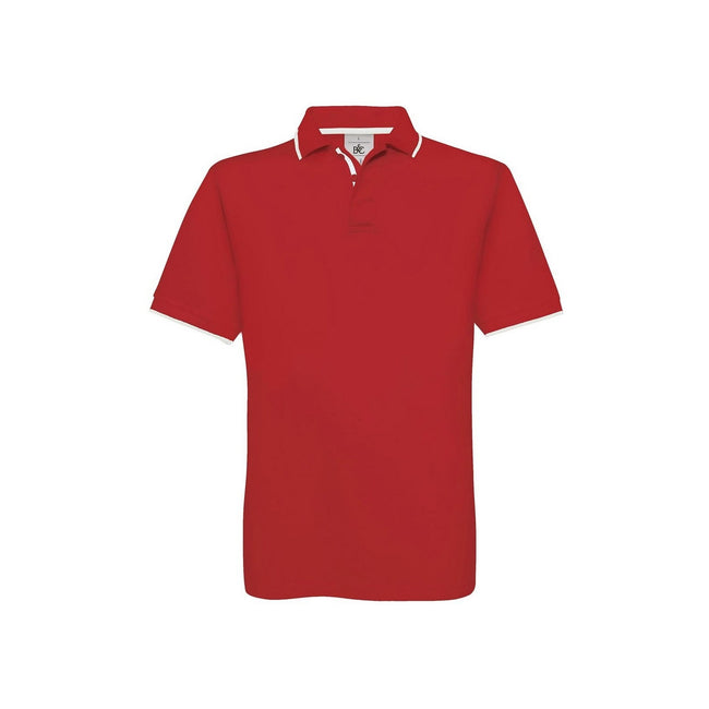 Red-White - Front - B&C Mens Safran Sport Plain Short Sleeve Polo Shirt