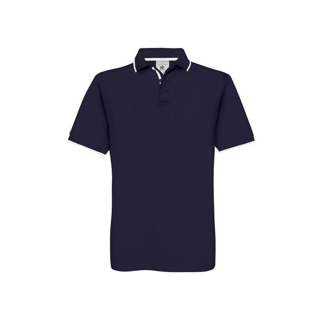 Navy-White - Front - B&C Mens Safran Sport Plain Short Sleeve Polo Shirt