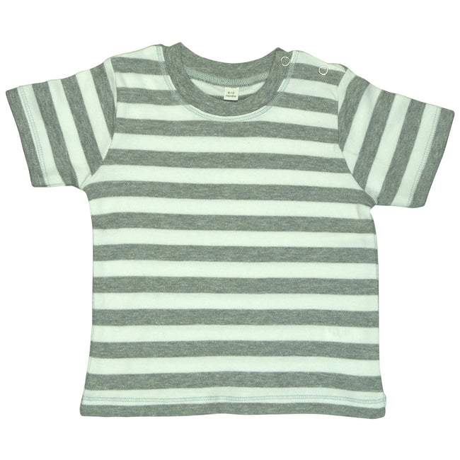 Light Grey Melange- White - Front - Babybugz Baby Unisex Stripy Short Sleeve T-Shirt