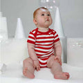 Red- Washed White - Back - Babybugz Baby Unisex Striped Short Sleeve Bodysuit