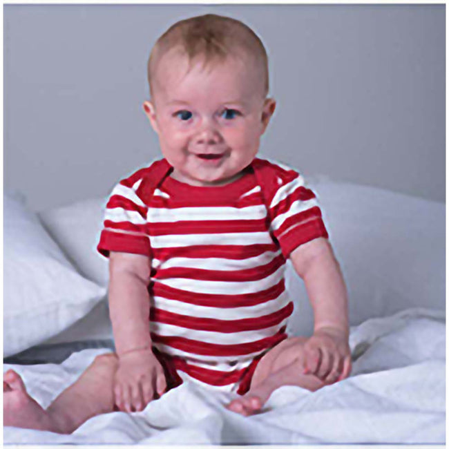 Red- Washed White - Side - Babybugz Baby Unisex Striped Short Sleeve Bodysuit
