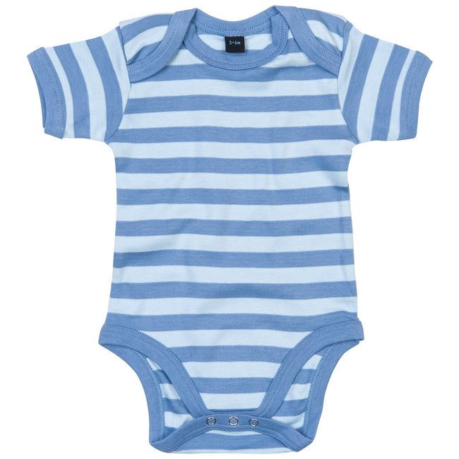 Antique Blue- Dusty Blue - Front - Babybugz Baby Unisex Striped Short Sleeve Bodysuit