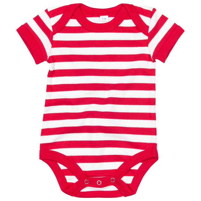 Red- Washed White - Front - Babybugz Baby Unisex Striped Short Sleeve Bodysuit