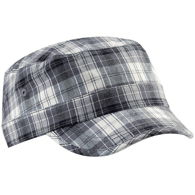 Grey Plaid - Front - Beechfield Unisex Plaid Cadet Army Cap