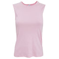 Pink - Front - Bella + Canvas Womens-Ladies Baby Rib Sleeveless Vest Top