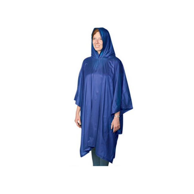 Navy - Back - Hooded Plastic Reusable Poncho