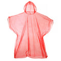 Red - Front - Hooded Plastic Reusable Poncho