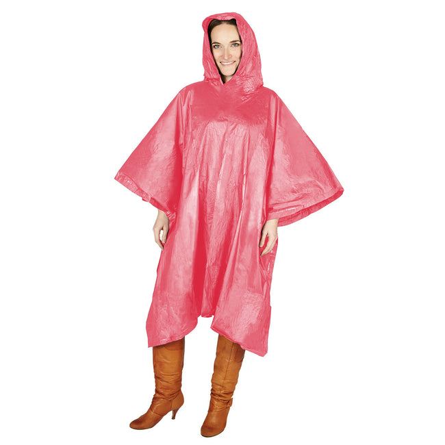 Red - Back - Hooded Plastic Reusable Poncho