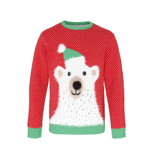 Red - White -Green - Front - Christmas Shop Adults Unisex Polar Bear 3D Nose Christmas Jumper-Sweatshirt