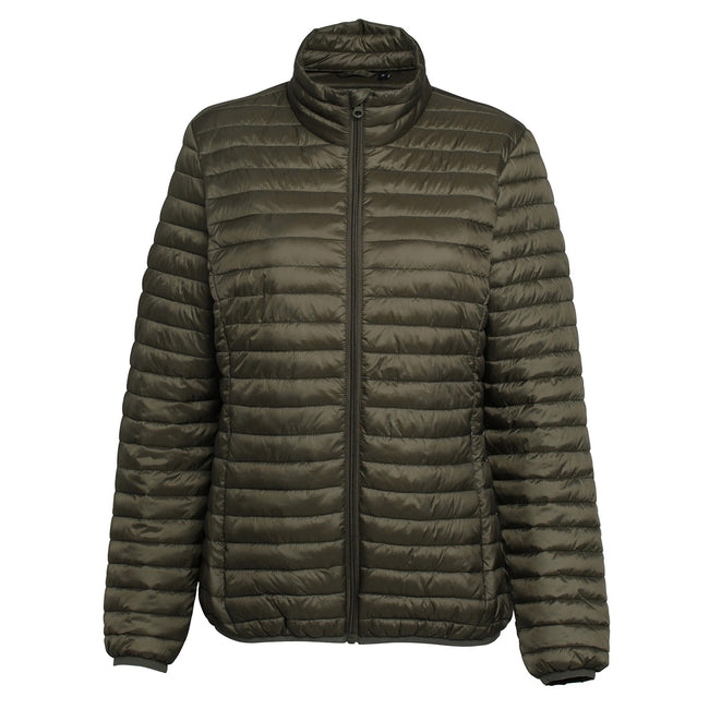 Red - Back - 2786 Womens-Ladies Tribe Hooded Fineline Padded Jacket