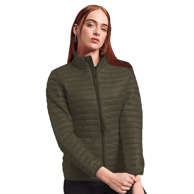 Royal - Front - 2786 Womens-Ladies Tribe Hooded Fineline Padded Jacket