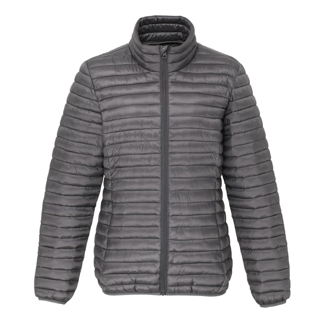 Steel - Front - 2786 Womens-Ladies Tribe Hooded Fineline Padded Jacket