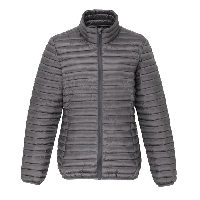 White - Front - 2786 Womens-Ladies Tribe Hooded Fineline Padded Jacket