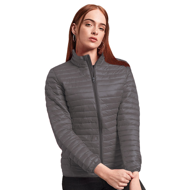 Aubergine - Front - 2786 Womens-Ladies Tribe Hooded Fineline Padded Jacket
